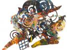 (detail) Al Loving, Humbird, 1989, mixed media on board, 72 x 100 inches (courte