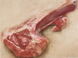 Avigdor Arikha, Lamb Chop, 1975, watercolor on paper, 4 1/4 x 5 1/4 inches (cour