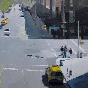 Lisa Breslow, From the High Line, 2012, oil and pencil on panel, 24 x 24 inches