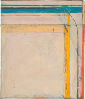 Richard Diebenkorn, Cigar Box Lid #4, 1976, oil on wood, 8 3/8 x 7 1/8 inches (©