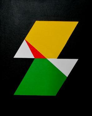 Judith Duquemin, Rhombic manipulation, acrylic on board, 20.3 x 25.4 cm, 2014 (©