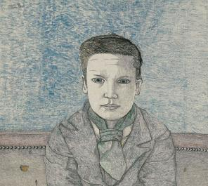 Lucian Freud, Boy on a Sofa, 1944, Pencil, charcoal and chalk on paper, 15 x 17