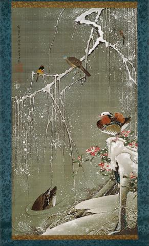 Ito Jakuchu, Mandarin Ducks in Snow, from Colorful Realm of Living Beings, 1759,