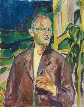 Edvard Munch, Self-Portrait in Front of the House Wall, 1926 (courtesy of Munch