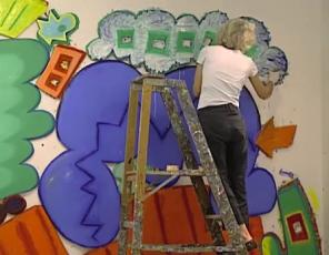 Elizabeth Murray working on the painting Bop, 2002-03 (Still from the series Exc
