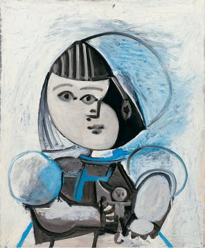 Pablo Picasso, Paloma et sa poupée, December 13, 1952, Oil on plywood, 28 3/4 x