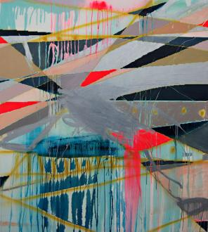 Clare Price, See the Sunlight, 153 x 178cm, oil, acrylic gouache, spray paint an