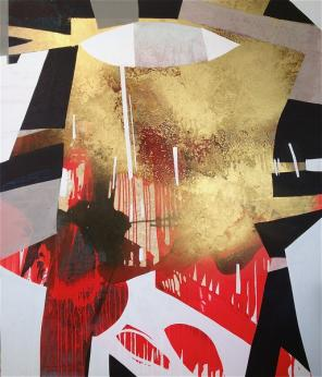 Erika Ranee, Geezer, 2013 acrylic, shellac and gold pigment on canvas. 84 x 72 i