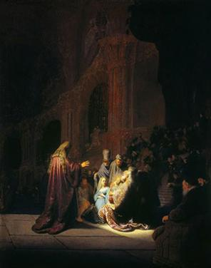 Rembrandt van Rijn, Simeon's Song of Praise, 1631, oil on panel, 24 x 18 3/4 inc
