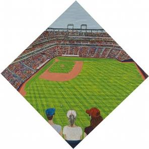 Sarah McEneaney, Baseball, 2010, egg tempera on wood, 33 1/2 x 33 1/2 inches (co