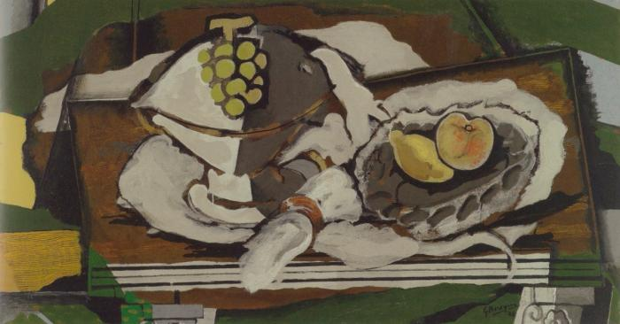 Georges Braque, Fruit Dish and Fruit Basket, 1928, oil and sand on canvas 19 1/4