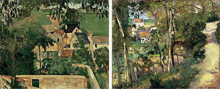 Paul Cézanne, Landscape, Auvers-sur-Oise, c. 1874 / Camille Pissarro, The Climbi
