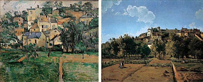 Paul Cézanne, l'Hermitage at Pontoise, 1881 / Camille Pissarro, Gardens at l'Her