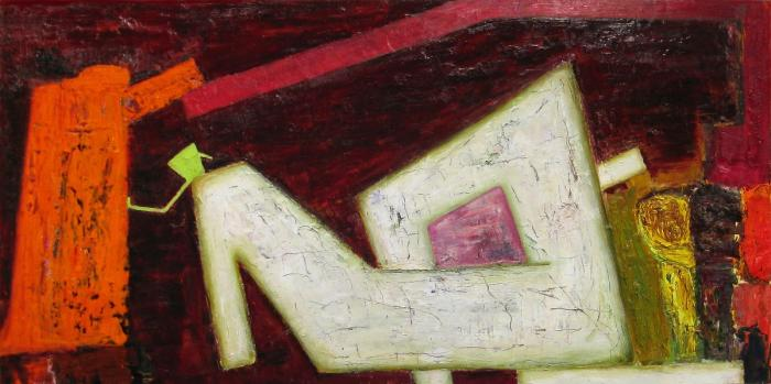 Brenda Goodman, Guardian, 2013, oil on wood, 32 x 64 inches (courtesy of the art