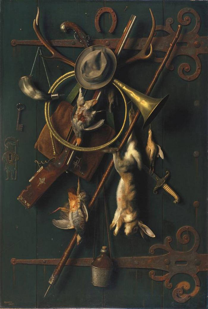 William Michael Harnett, After the Hunt, 1885, oil on canvas, 71 1/2 × 48 1/2 in
