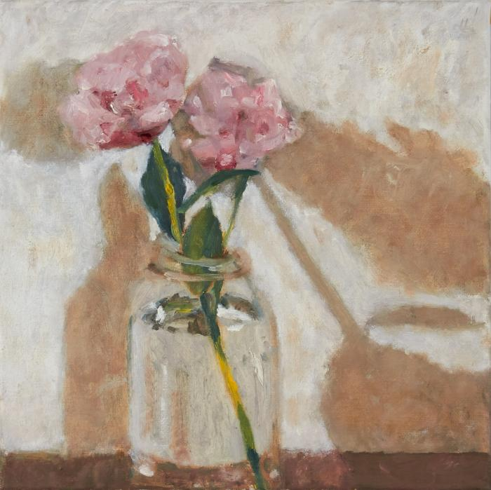 Craig Manister, Peonies in Glass Jar, 2012, oil on canvas, 12 x 12 inches (court