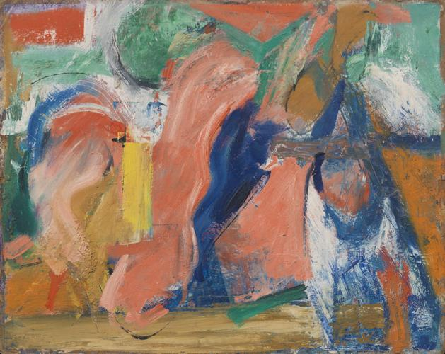 Pat Passlof, Pas de Quatre, 1952, oil on board, 19 x 24 inches (courtesy of Eliz