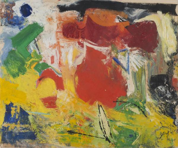 Pat Passlof, Untitled, circa 1950s, oil on paper, 14 x 17 inches (courtesy of El