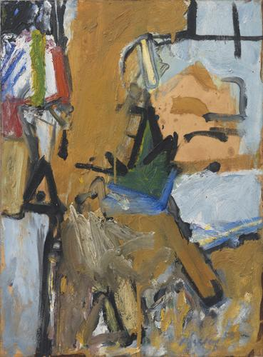 Pat Passlof, Spire, 1958, oil on paper mounted on canvas, 31 x 23 inches (courte