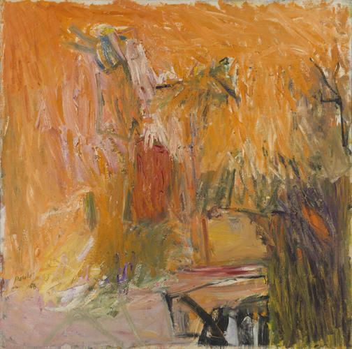 Pat Passlof, Promenade for a Bachelor, 1958, oil on linen, 68 x 68 inches (court