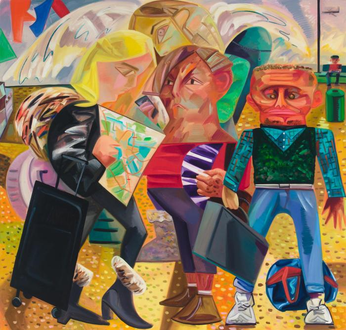 Dana Schutz, Swiss Family Traveling, 2015, oil on canvas, 84 x 88 inches (courte