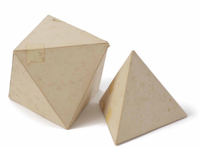 Tony Smith, Tetrahedron (model for marble sculptures) executed in 1967 as a mode