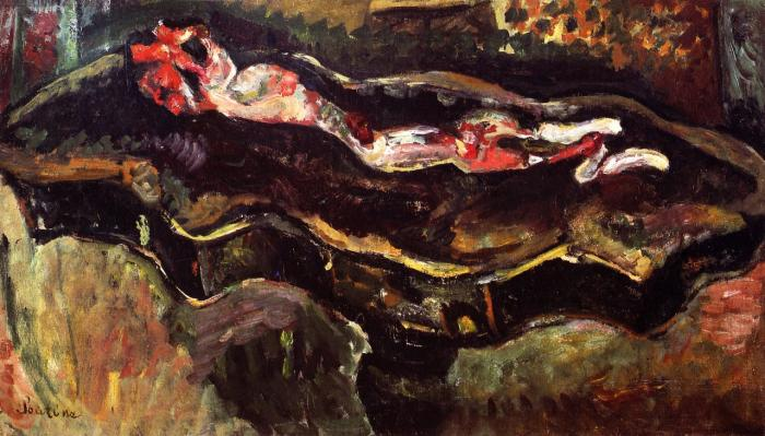 Chaim Soutine, Table with Skinned Rabbit, ca. 1923, oil, 18 x 31 inches (Private Collection)