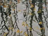 (detail) Robert Berlind, Umber Water Last Leaves, 1995, oil on linen, 77 x 88 in