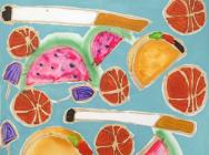 (detail) Katherine Bernhardt, Tropical Fruit Salad, 2014, acrylic and spray pain