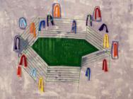(detail) Sharon Butler, Stadium, 2014, pencil, pigment, binder, canvas, tshirts,