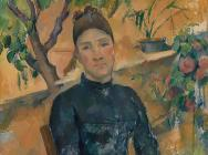 (detail) Madame Cézanne (Hortense Fiquet, 1850–1922) in the Conservatory, 1891 (