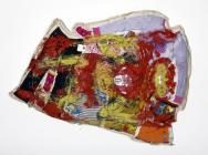 Mike Cloud, Iron Man Flying Quilt, 2008, oil and clothes on linen, 70 x 52 x 7 i