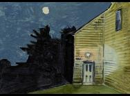Lois Dodd, Moon and House Light, 2013, oil on aluminum flashing, 5 x 7 inches (c