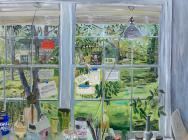Mary Addison Hackett, Studio Window (Nashville), oil on canvas, 54 x 66 inches,