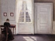 (detail) Vilhelm Hammershøi, Interior in Strandgade, Sunlight on the Floor, 1901