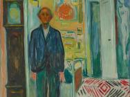 (detail) Edvard Munch, Self-Portrait Between the Clock and the Bed, 1940-3 (Phot