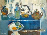 Edith Schloss, Still Life, 1951, oil on canvas, 16 x 19.9 inches (courtesy of Su