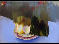 Judith Simonian, Fruit On Blue Table, 2013, acrylic on canvas, 11 x 15.75 inches