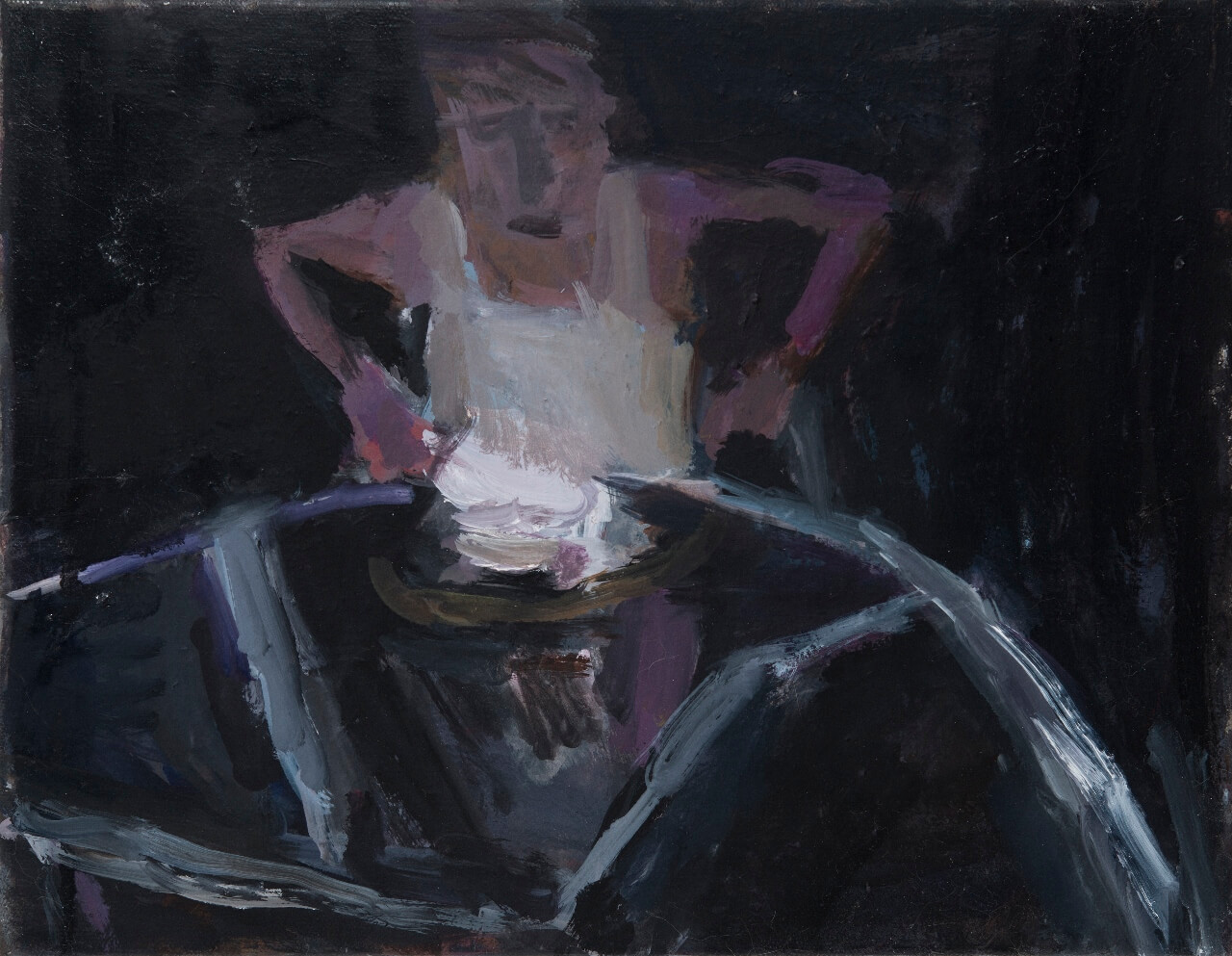 Janice Nowinski, Man at a Table, 2016, oil on canvas, 11 x 14 inches
