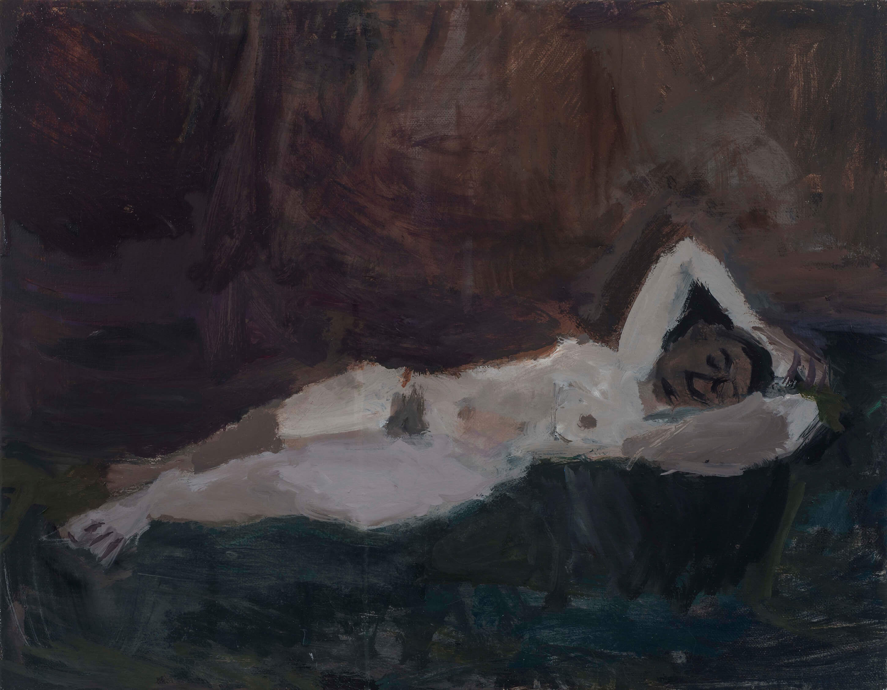 Janice Nowinski, Reclining Nude, 2017, oil on canvas, 14 x 17 3/4 inches