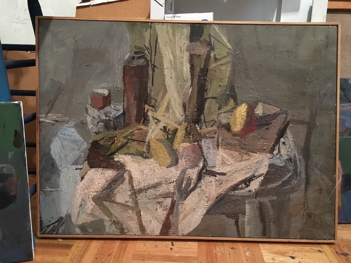 Janice Nowinski, Still Life/Gray, 1993, oil on linen, 22 x 28 inches