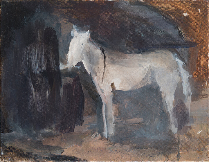 Janice Nowinski, White Horse, 2016, oil on canvas, 11 x 14 inches