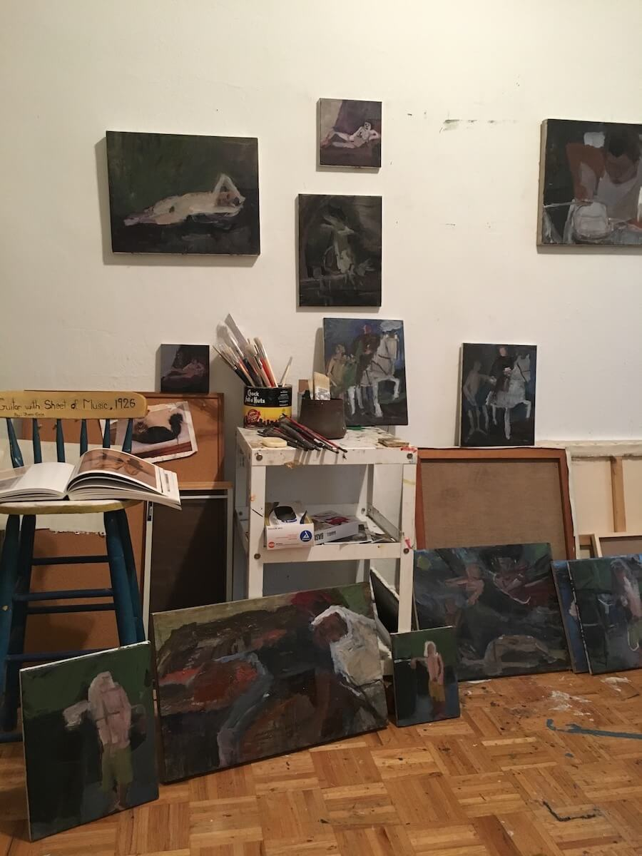 Janice Nowinski, Studio view with paintings in progress