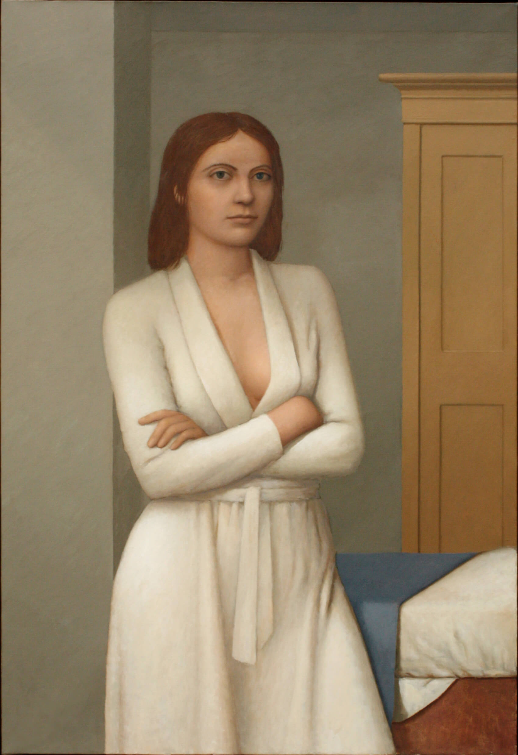 William Bailey, White Robe, 2007-8, oil on linen, 51 1/4 x 35 1/8 inches (courtesy of the artist and Betty Cuningham Gallery)