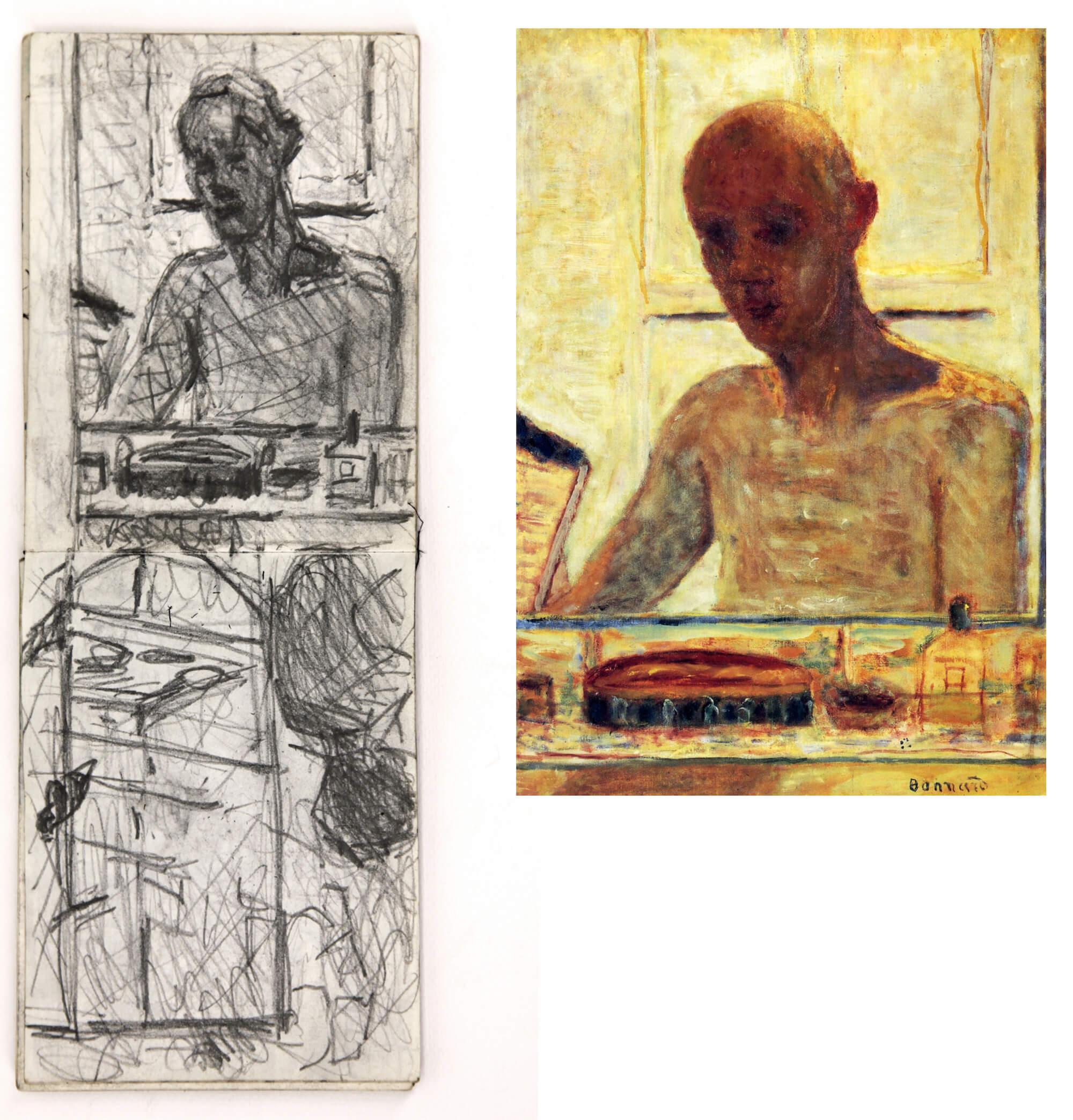 Pierre Bonnard, Self Portrait in a Shaving Mirror, 1935 (Centre Georges Pompidou, Paris) and studies by Sargy Mann (Sargy Mann estate)