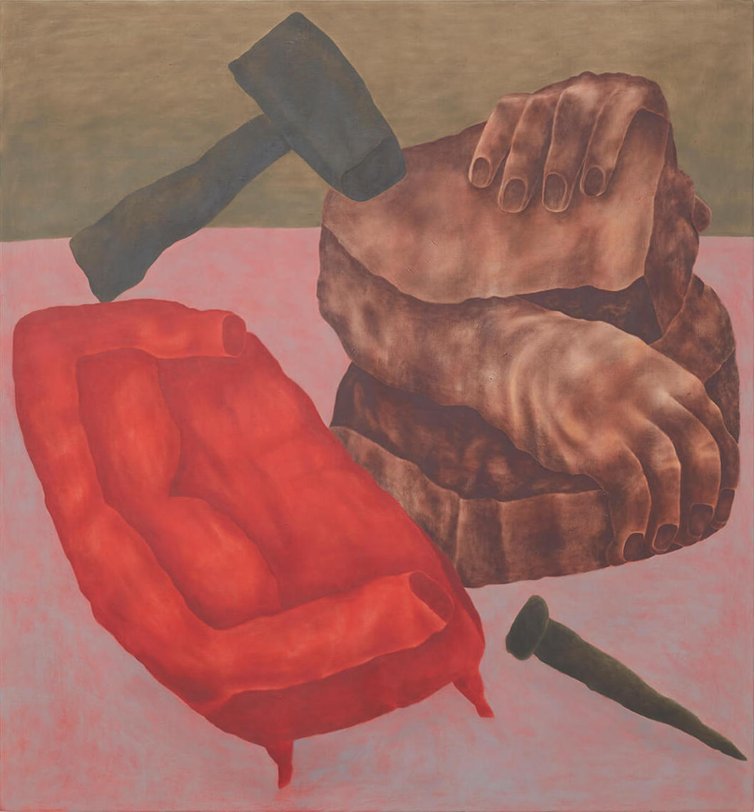 Ginny Casey, Couch and Carving, 2017, oil and acrylic on linen, 70 x 65 inches (courtesy of Mier Gallery)