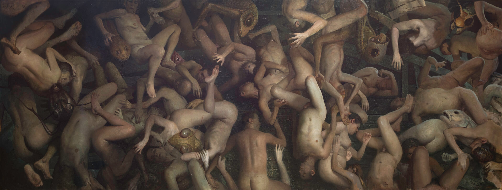 Vincent Desiderio, Theseus, 2017, oil on canvas, 62 x 164 inches (© Vincent Desiderio, courtesy Marlborough Gallery, New York)