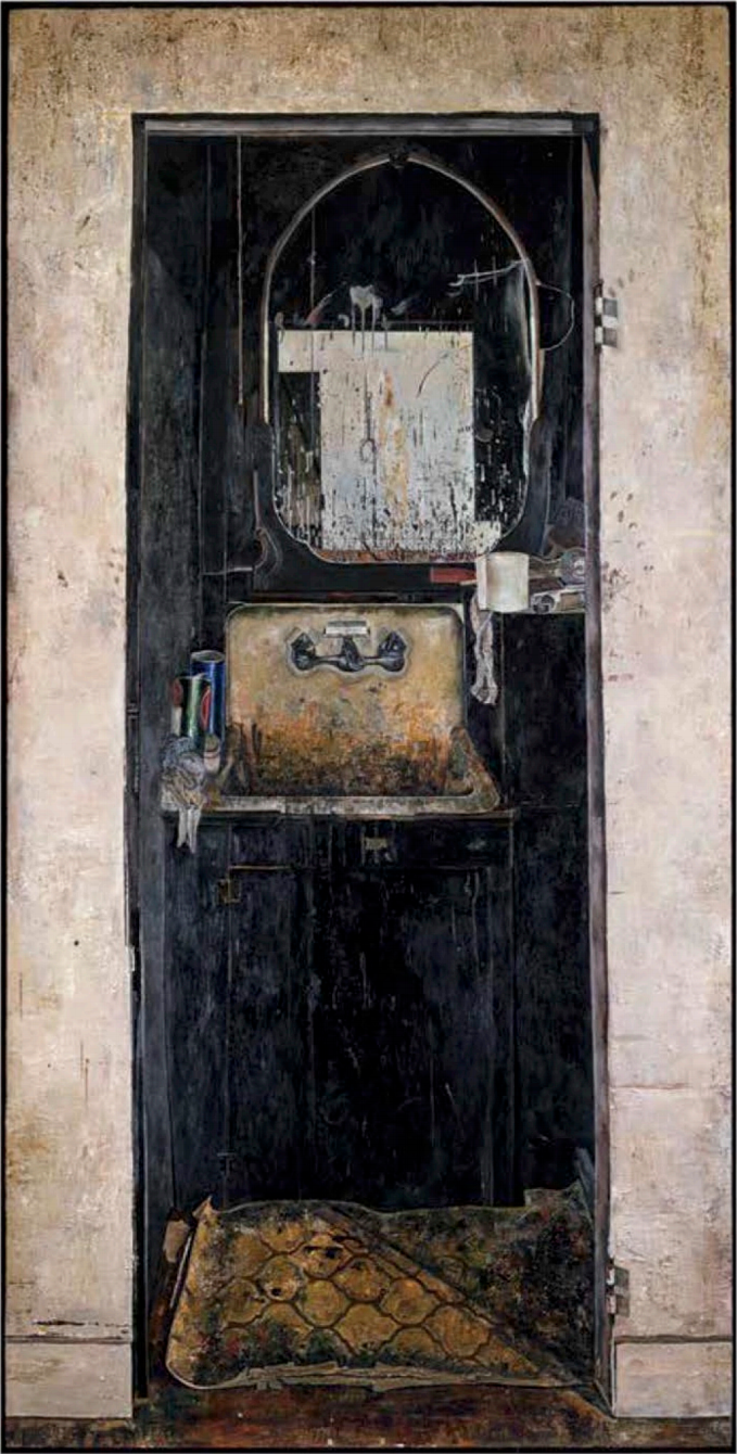 Simon Dinnerstein, The Sink, oil on wood panel, 96 x 48 inches, 1974 (photo: Matthew Ballou, courtesy of the artist)