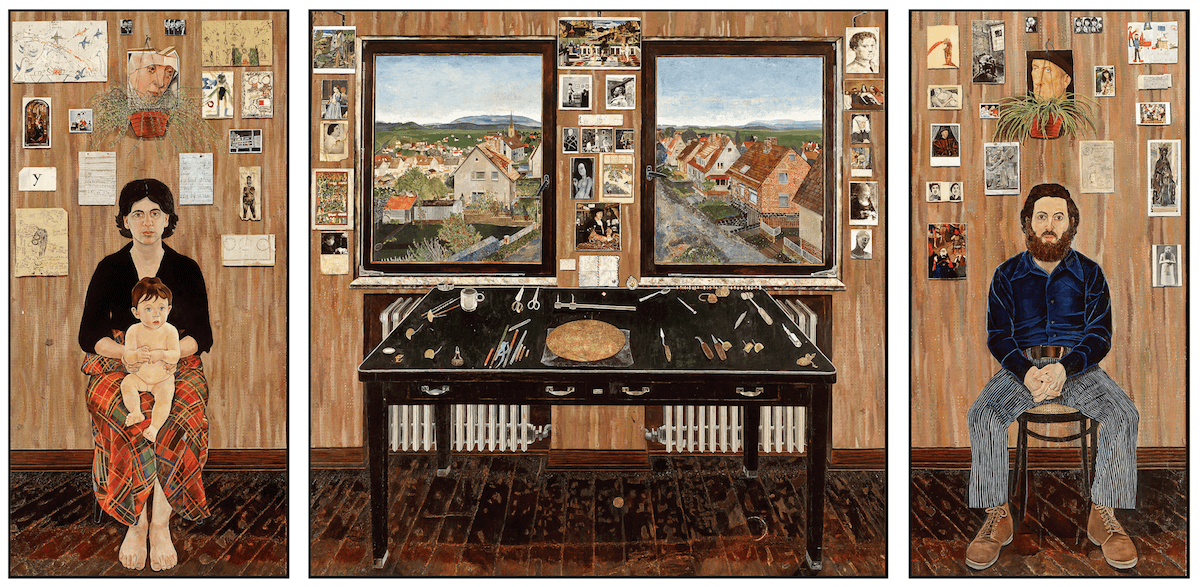 Simon Dinnerstein, The Fulbright Triptych, oil on wood, 1971-74 (courtesy of the artist)