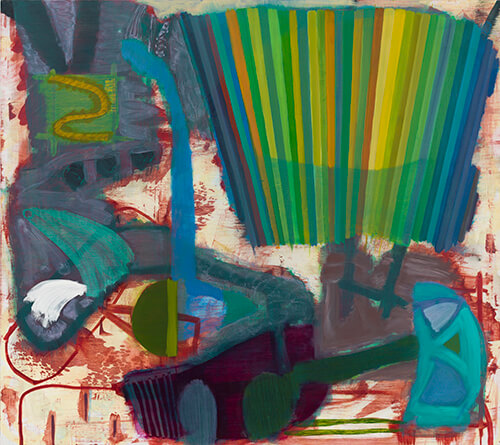 Julian Hatton, Yard, 2016-17 oil, wax pastel and colored pencil on canvas, 48 x 54 inches (courtesy of Elizabeth Harris Gallery)
